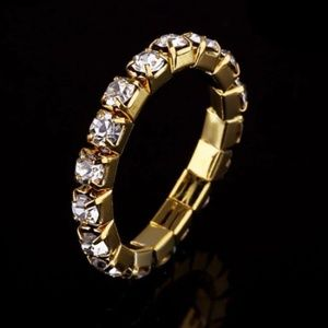 Gold Rhinestone Stretch 1 Row Ring